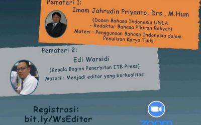 Online Workshop Editor Loka Litbang Kesehatan Pangandaran 2021