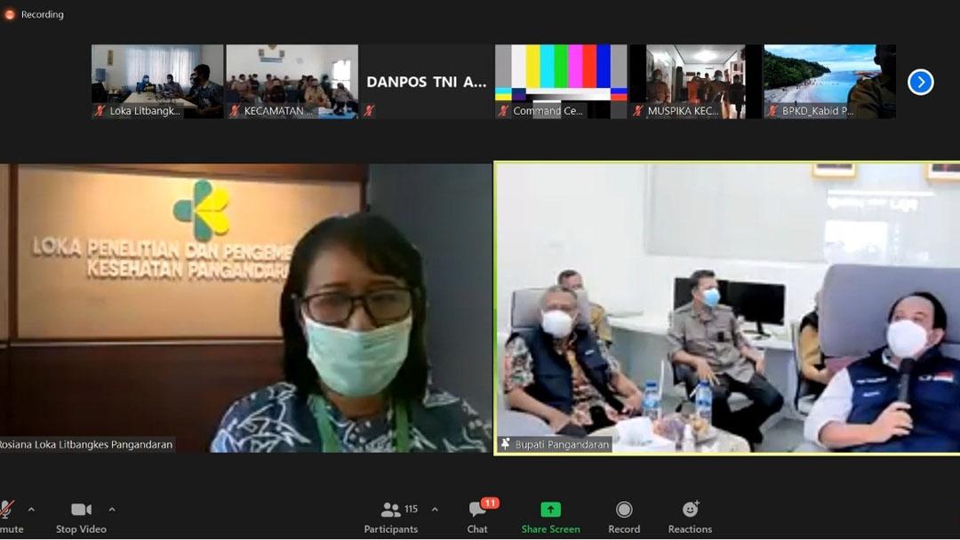 Rapat Virtual Evaluasi Pencegahan dan Penanganan Covid-19 Kabupaten Pangandaran