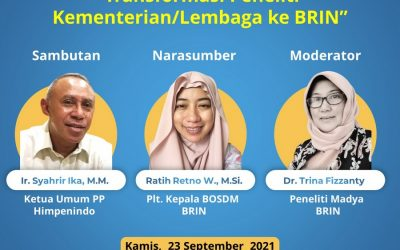 """Sosialisasi Himpenindo """"Transformasi Peneliti Kementerian/Lembaga ke BRIN"""". Kamis, 23 September 2021"""